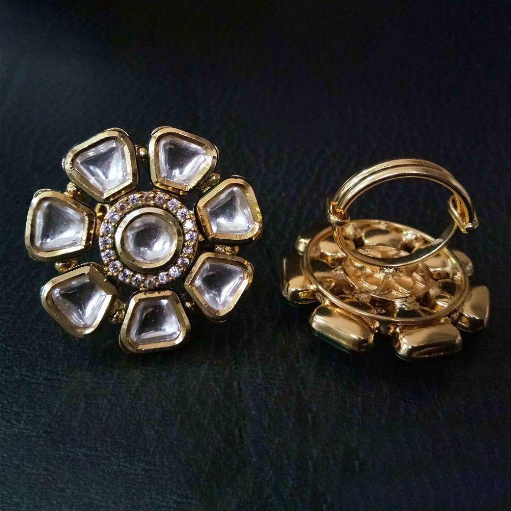 Kundan Ring - White