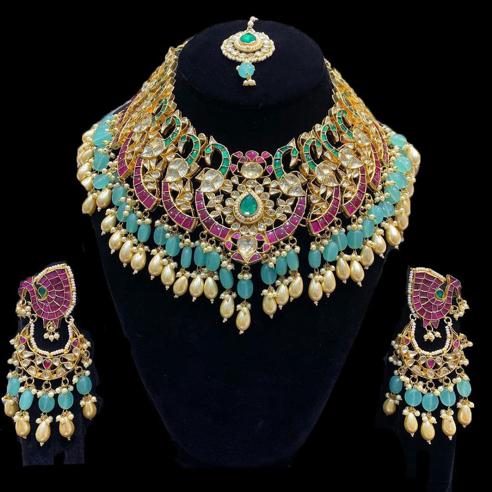 Ahmadabadi Kundan  Peacock Necklace Set
