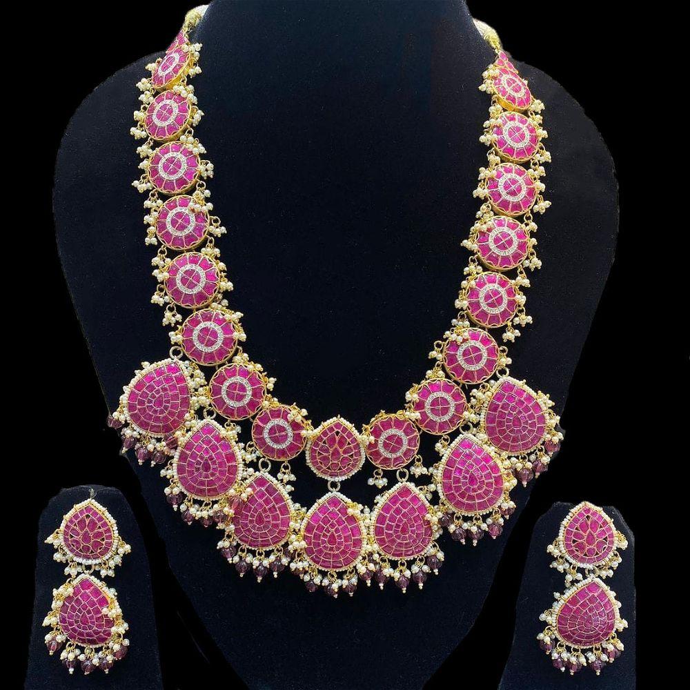 Mosaic Style Polki Long Necklace