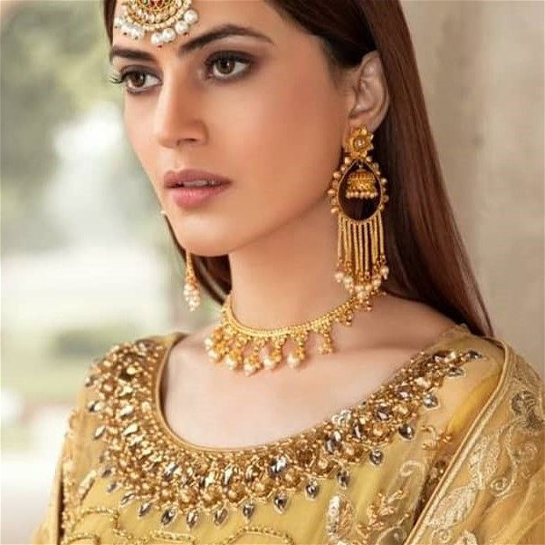 Golden Danglers With Pearls