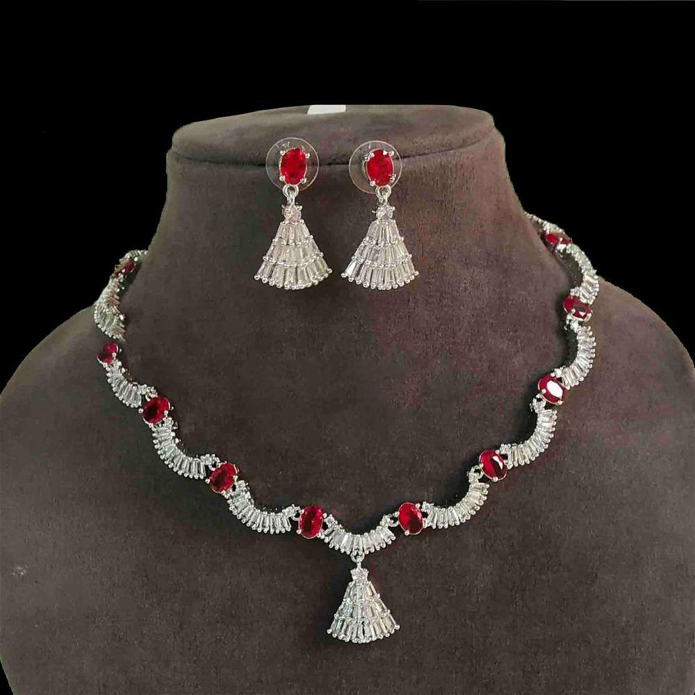 Diamond Cut Necklace - Red