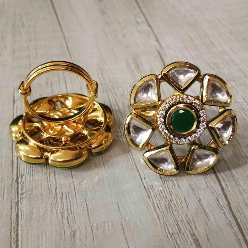 Kundan Ring - Green