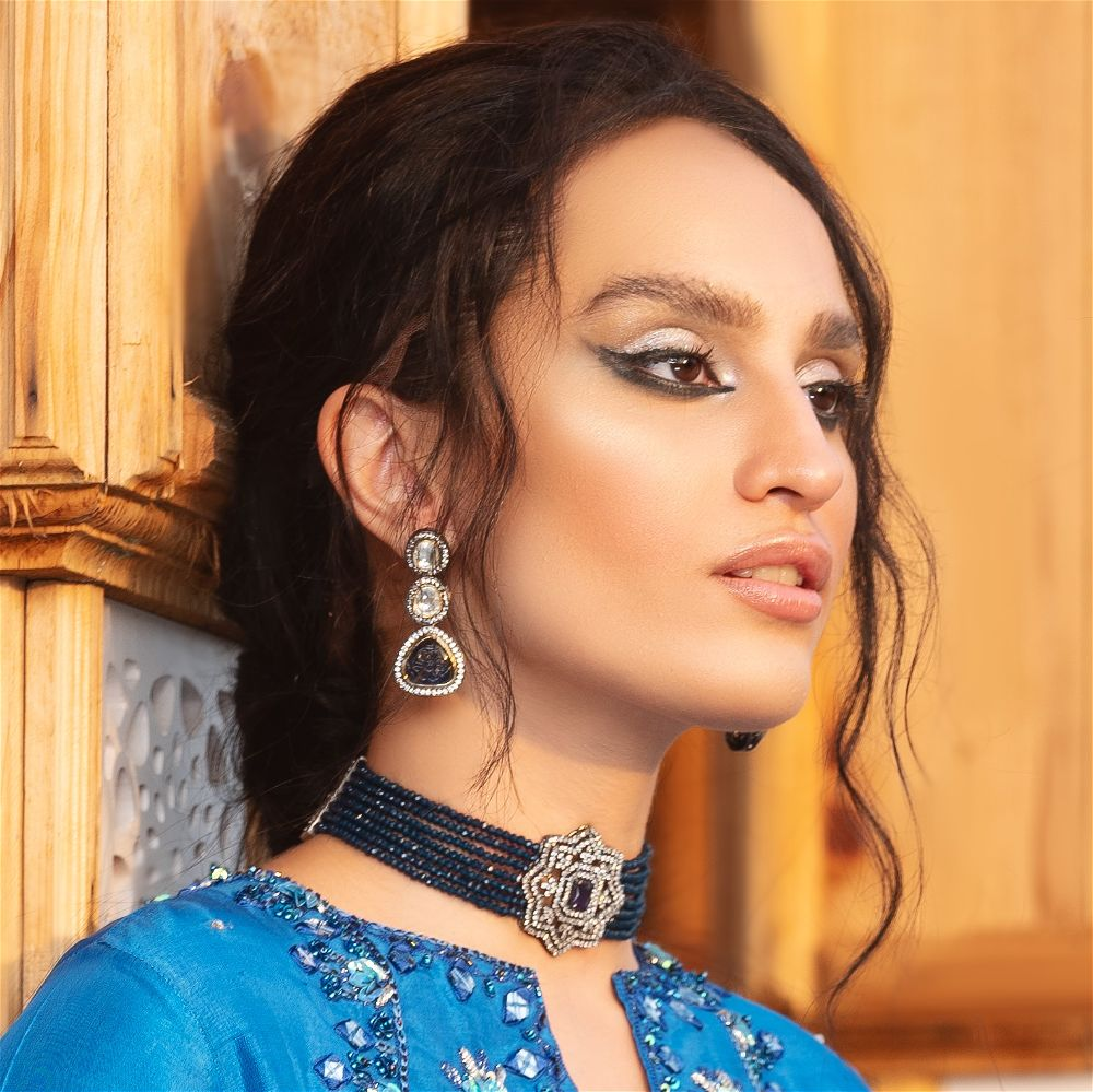 Victorian Polki Earrings -Dark Blue