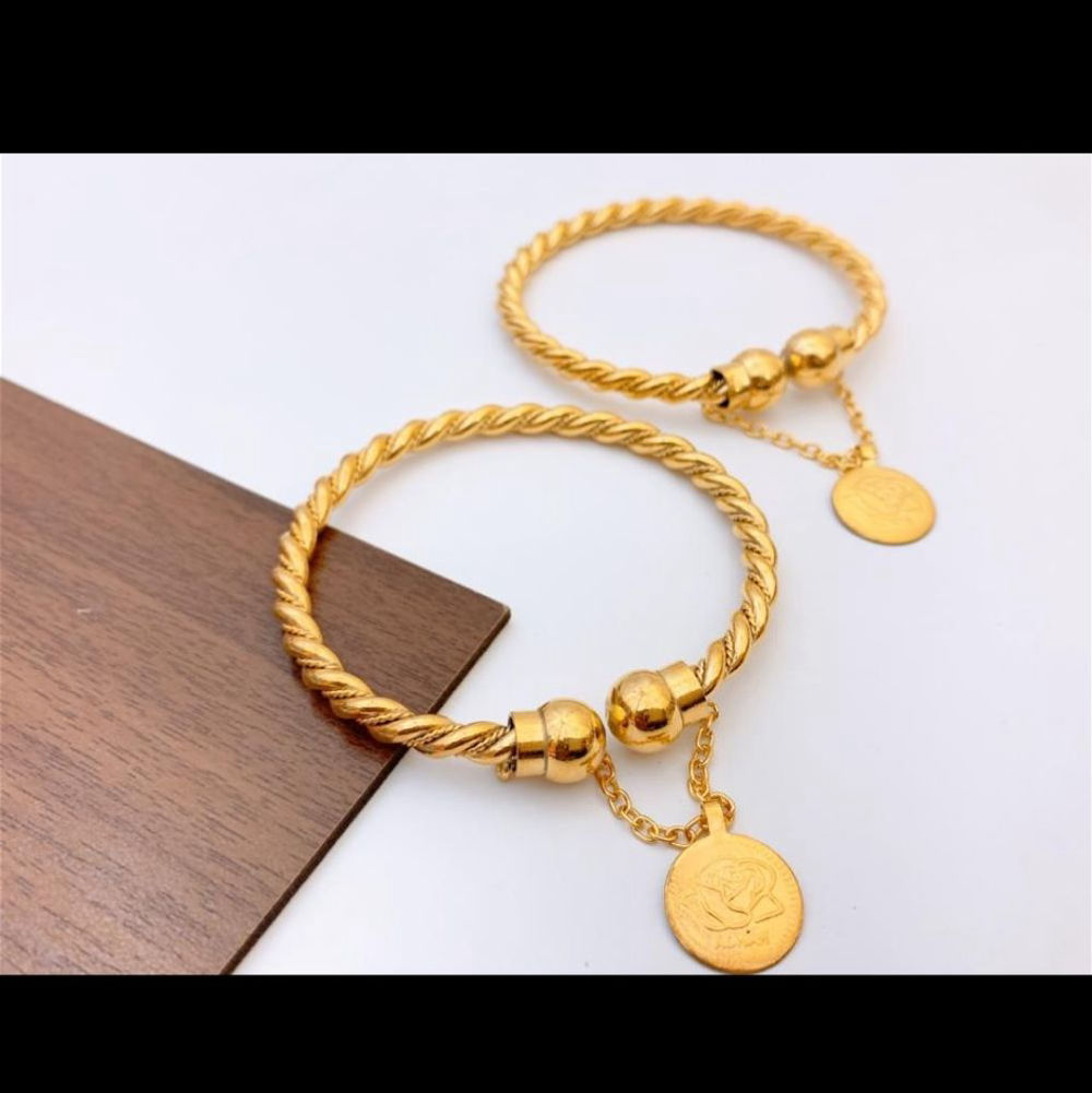 Gold Plated Bangles Pair - C