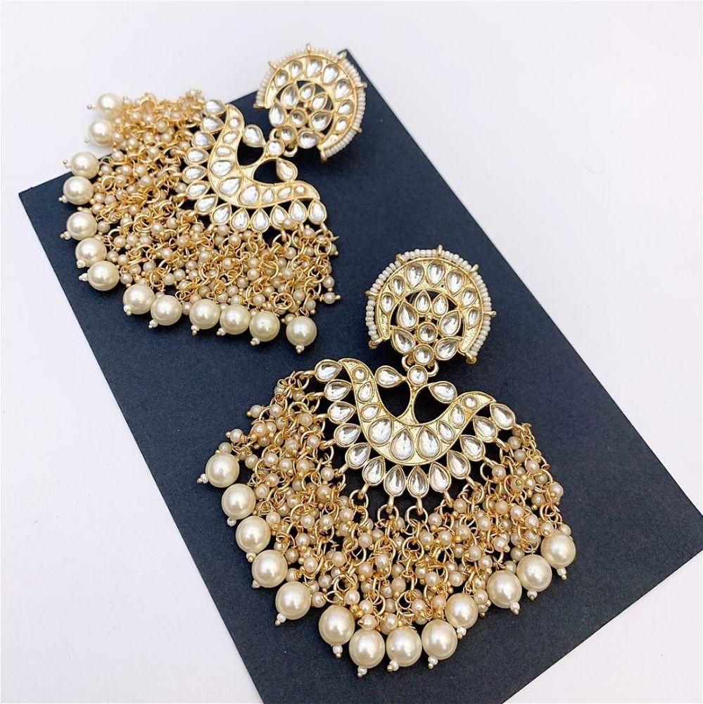 Kundan Style Earrings With Pearl Clusters