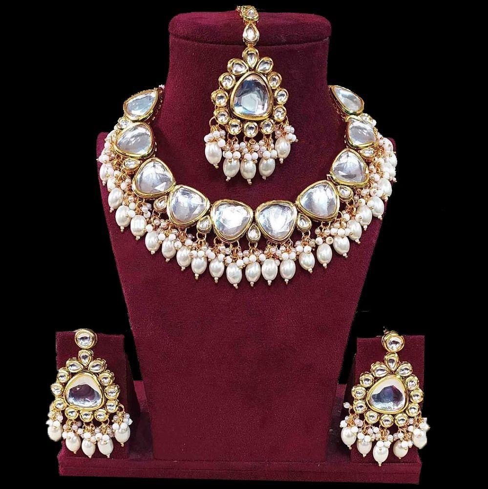 Jadau Polki Necklace Set In Pearls