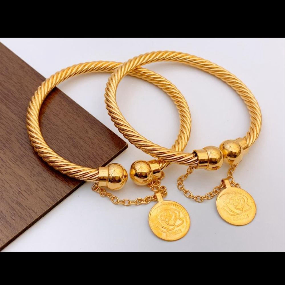 Gold Plated Bangles Pair - A