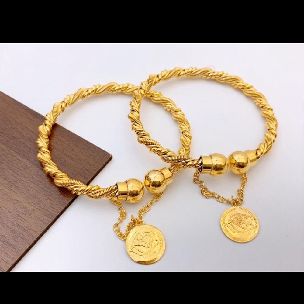 Gold Plated Bangles Pair - D