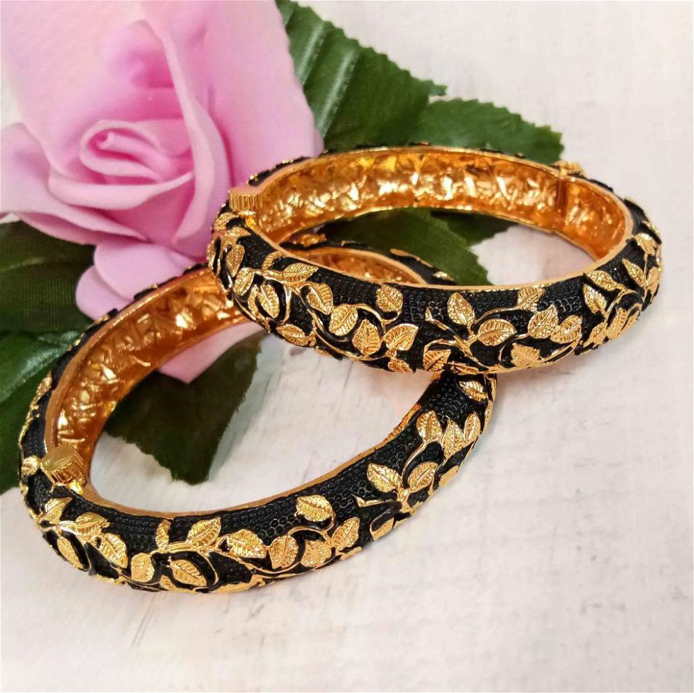 Black And Golden Bangles Pair
